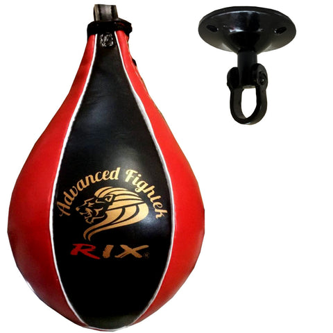 Rix Pro Leather Speedball & Swivel Boxing Punch Bag Punching Training MMA Speed Ball (Red) - Combatek