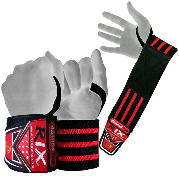 "Rix Pro Weight Lifting Wrist Wraps Body Building Power Training Support Gym Straps 17"" - Combatek"