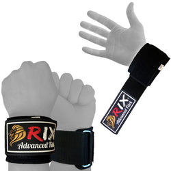 Rix Power Weight Lifting Padded Wrist Brace Wraps Grip Support Gloves Gym Straps - Combatek