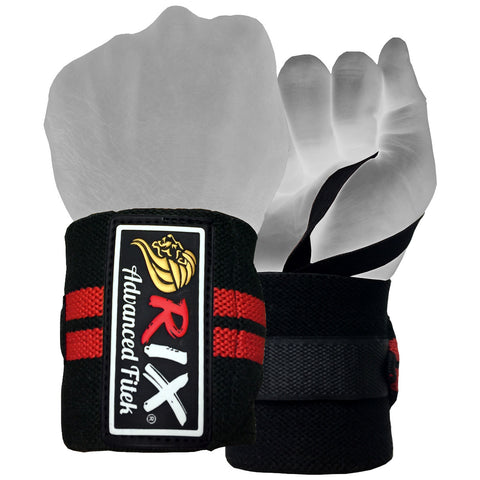 "Rix Weight Lifting Wrist Wraps Body Building Power Training Support Gym Straps 13"" (Black) - Combatek"