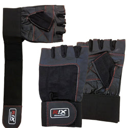 Rix Pro Lift Gel Weight Lifting Body Building Gloves Gym Straps Bar Leather Grip - Combatek