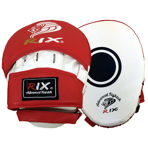 Rix Focus Pads Hook & Jab Mitts Kick Boxing MMA Thai Strike Curved Punch Bag - Combatek