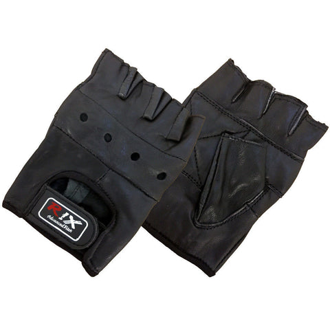 Rix Fingerless Half Finger Padded Leather Gloves Cycling Bike Weight Lifting Gym - Combatek