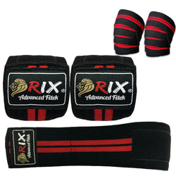 Rix Weight Lifting Knee Straps Bandage Wraps Guard Pads Sleeves Powerlifting Gym - Combatek