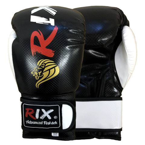 Rix Pro Leather Boxing Gloves Training MMA Muay Thai Kick Pad Punch Bag Mitts - Combatek