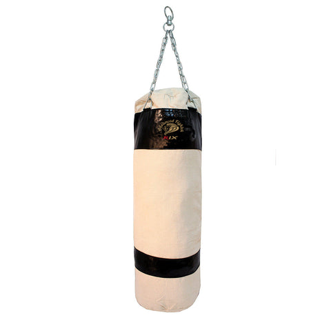 Rix Unfilled Heavy Punch Bag Kick Boxing Chain MMA Training Canvas Punching Bag Set (Black) - Combatek