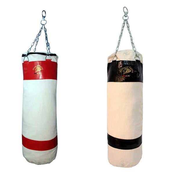 Rix 4ft Unfilled Heavy Punch Bag Kick Boxing Chain MMA Canvas Punching Bag - Combatek