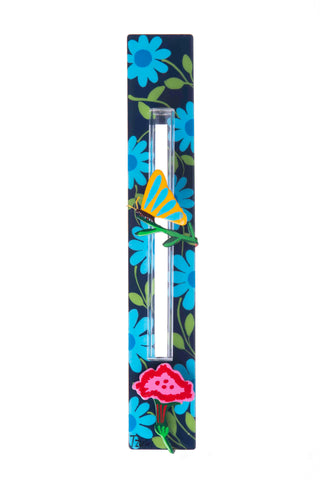 Butterfly Mezuzah Blue Flowers