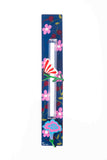 Butterfly Mezuzah Pink Flowers On Blue Background