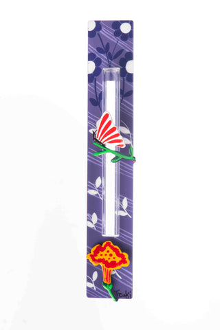 Butterfly Mezuzah White Leafs On Purple Background