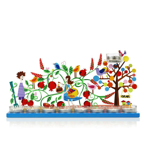 Hanukkah Pomegranate Menorah - Multicolor - Tzuki Studio