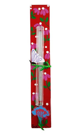 Butterfly Mezuzah Yellow Flowers On Red Background