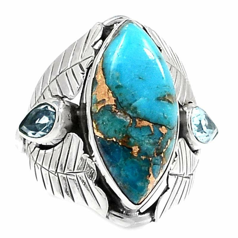 Blue Copper Flame Turquoise 925 Silver Ring
