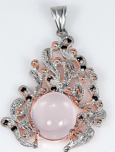 Rose Quartz 925 Sterling Rose Gold Pendant