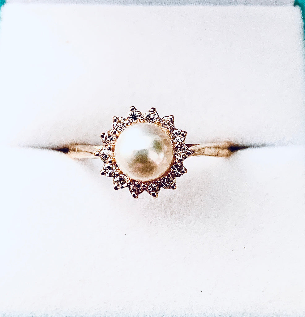 14kt Cultured Pearl & Diamond Ring