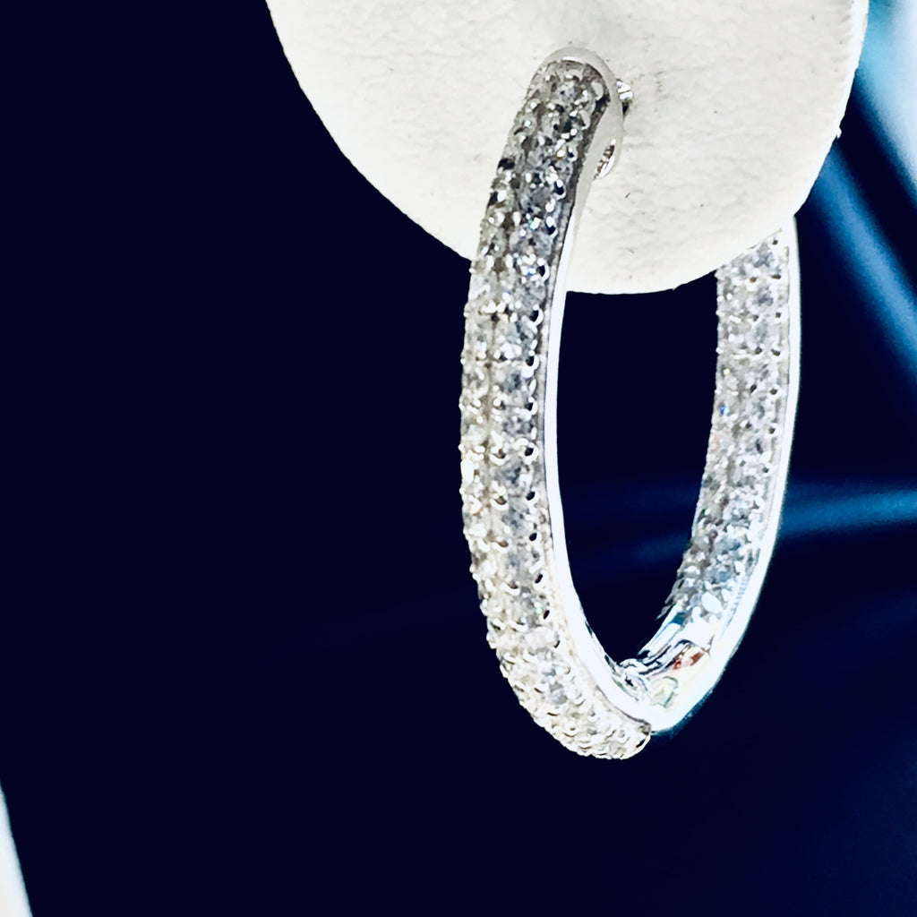 Designer CZ Sterling Hoop Earrings