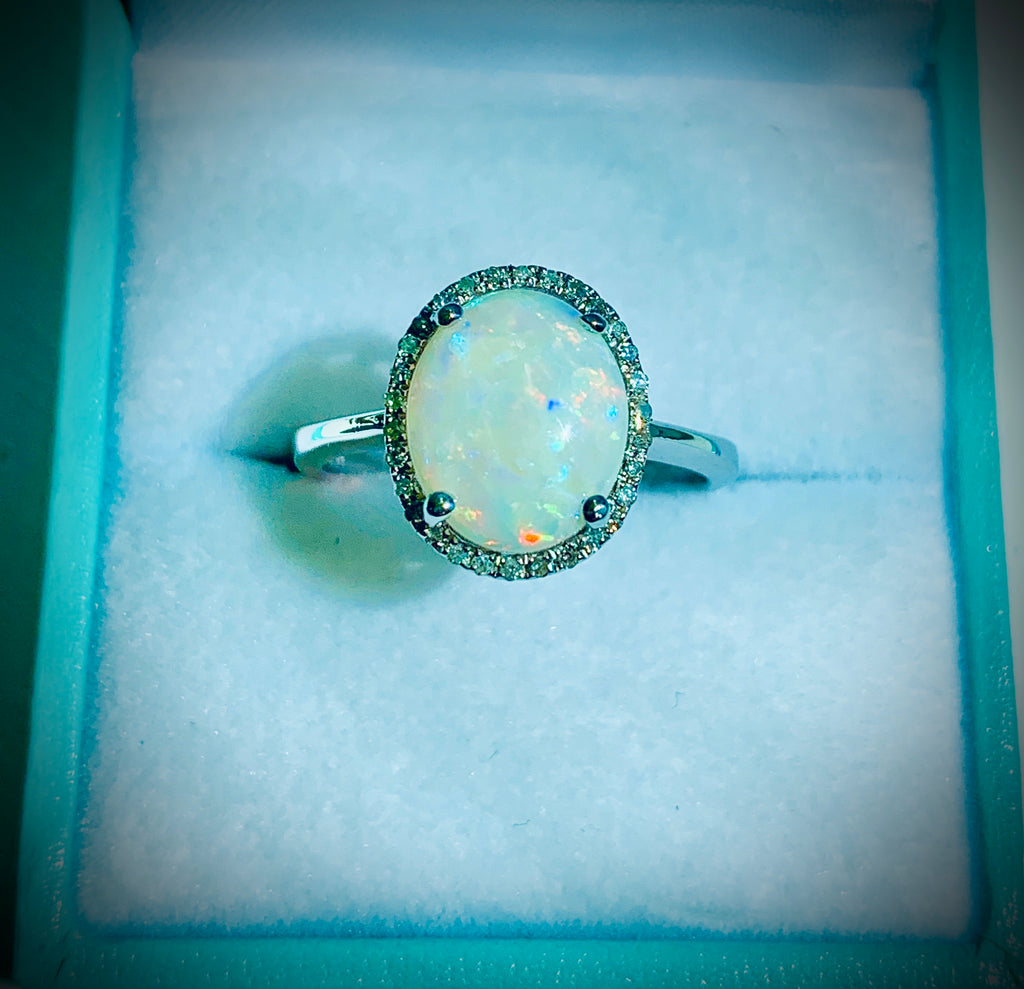 Fire Opal Diamond Halo Ring 14kt White Gold