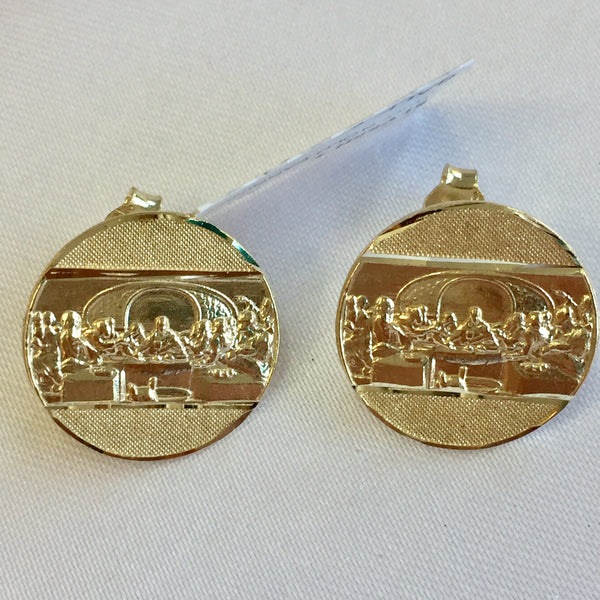 Last Supper Post Earrings 10KT