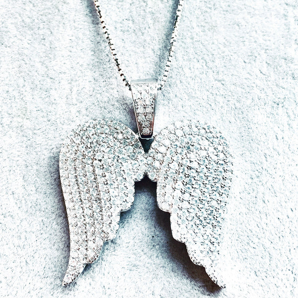 Angel Wings Cz Sterling Pendant