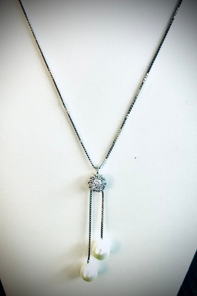 925 Pearl & Crystal Adjustable Length Necklace