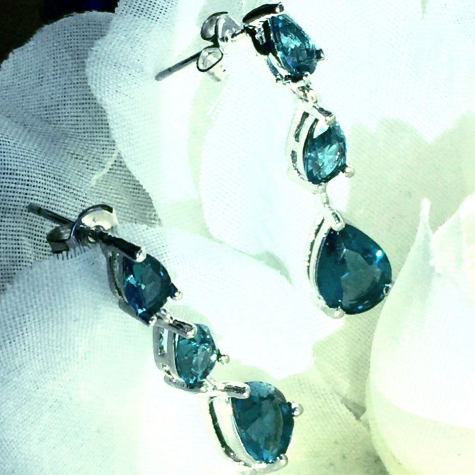 Natural London Blue Topaz 925/Earrings