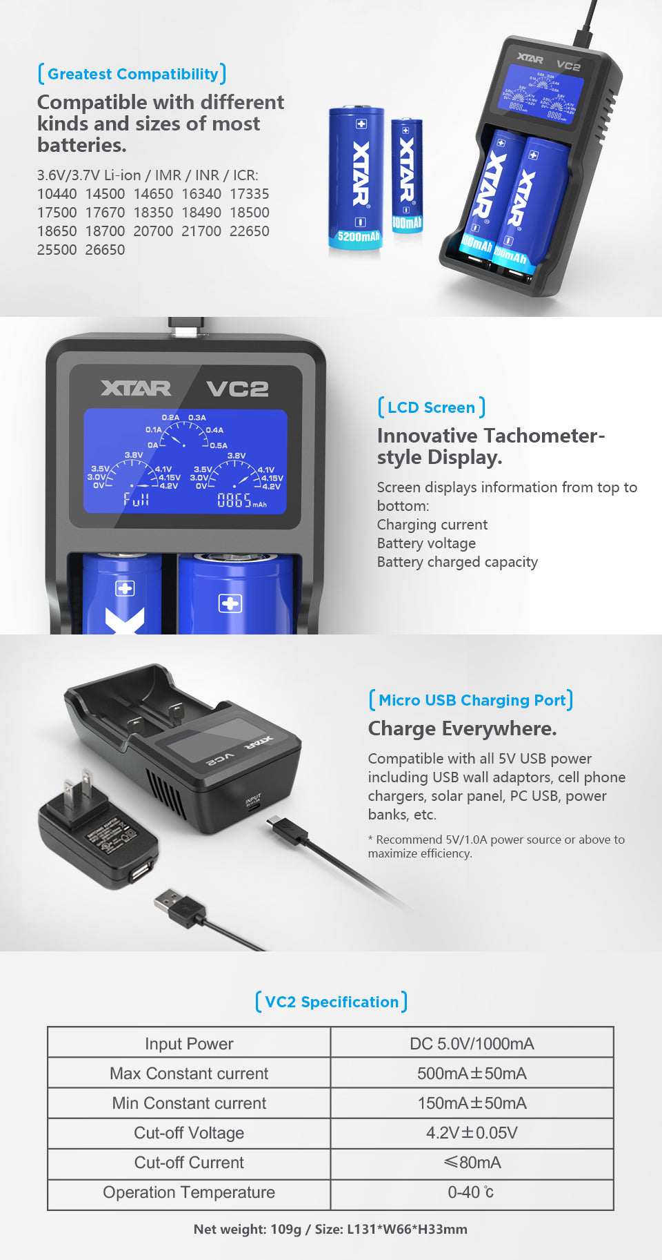XTAR VC2 2-Bay LCD Screen USB Digital Li-ion/Ni-MH Battery Charger
