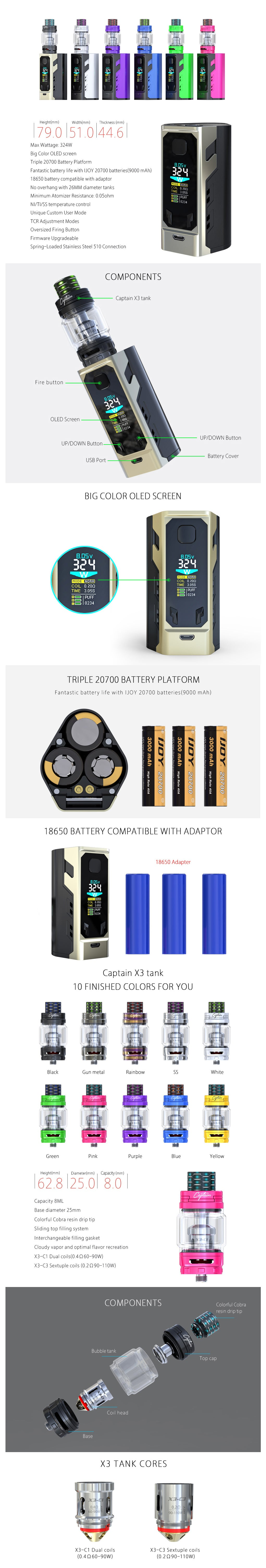 iJoy Captain X3 324W TC Triple 20700 Starter Kit