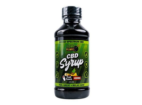 Hemp Bombs Broad Spectrum Fruit Punch 4oz CBD Syrup 100MG - Vaporider