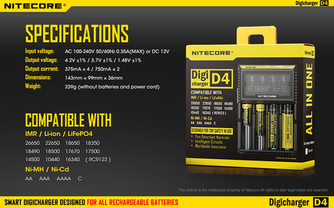 Nitecore Digicharger D4 Multi-in-One Battery Charger - VapoRider