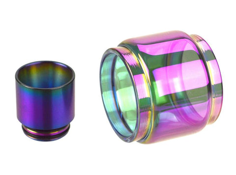 Rainbow 8mL Bulb Pyrex Glass Tube & Metal Drip Tip Set for SMOK TFV12 Prince Tank - Vaporider