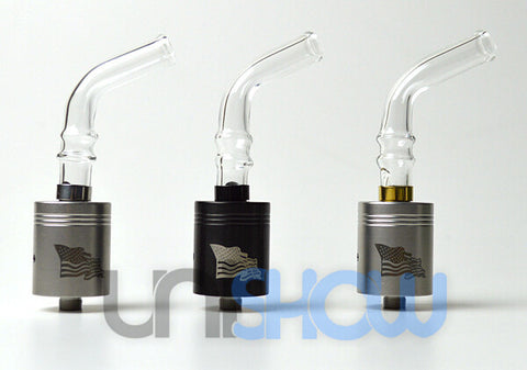 Bent Glass + Stainless Steel Base 510 Drip Tip (Clear) - Vaporider