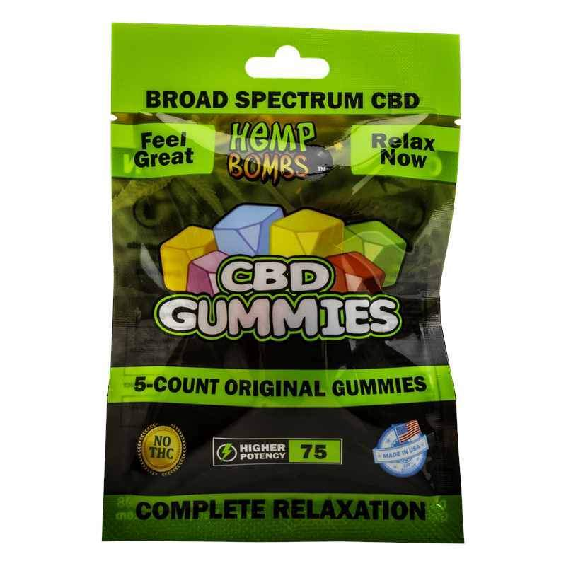 Hemp Bombs Board Spectrum 15MG CBD Gummies 5ct Bag - Vaporider
