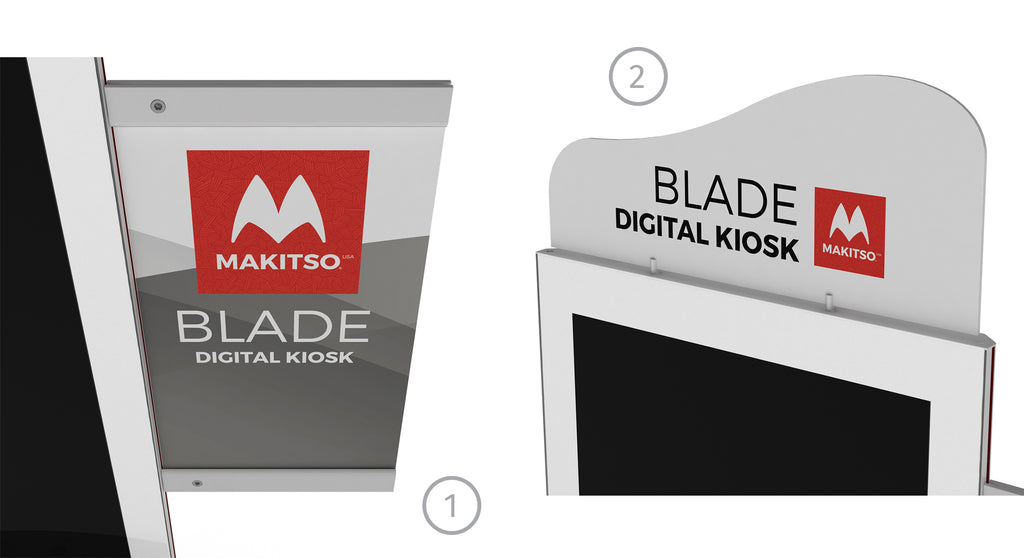 Makitso Blade 4k Digital Kiosk Side Bar, Banner Prints and Header render.