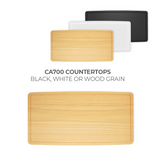 CA700 Counter Case counter tops  - white, black, wood grain.