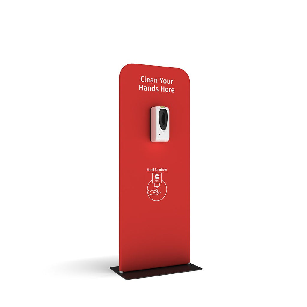 hanz automatic hand sanitizer dispenser with portable stand in red