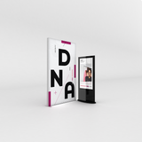 Infinity DNA™ Pro Light Box 1400L 4.5ft Display for exhibits, retail and events with digital kiosk.
