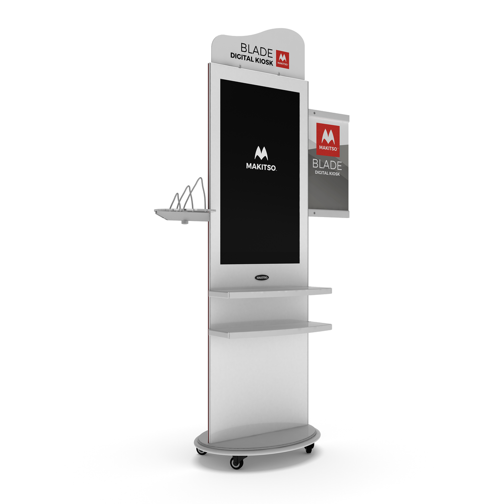 Makitso Blade Digital Signage Kiosk with all accessories