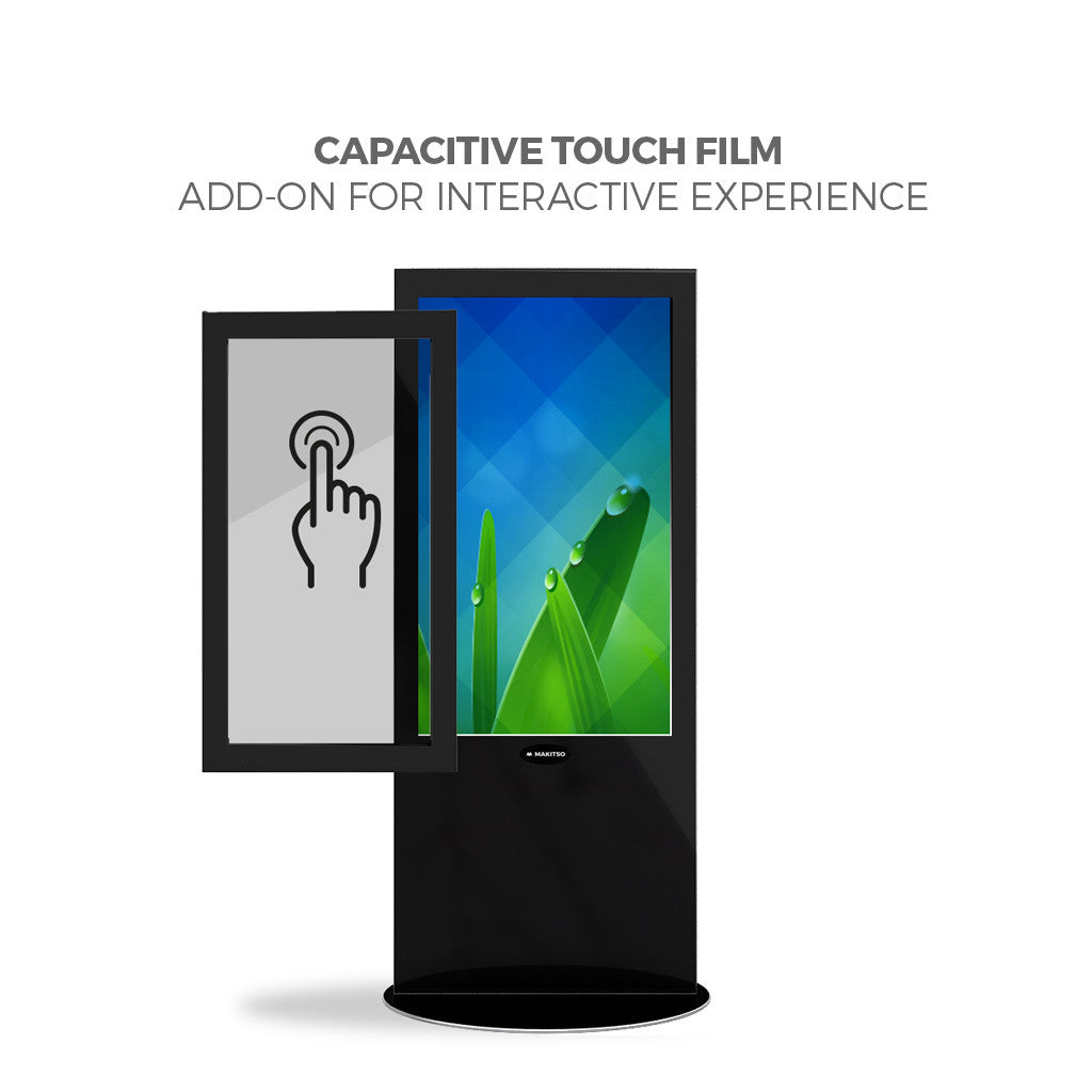 "Makitso Blade Tower 50"" Digital Signage Kiosk touch screen film"