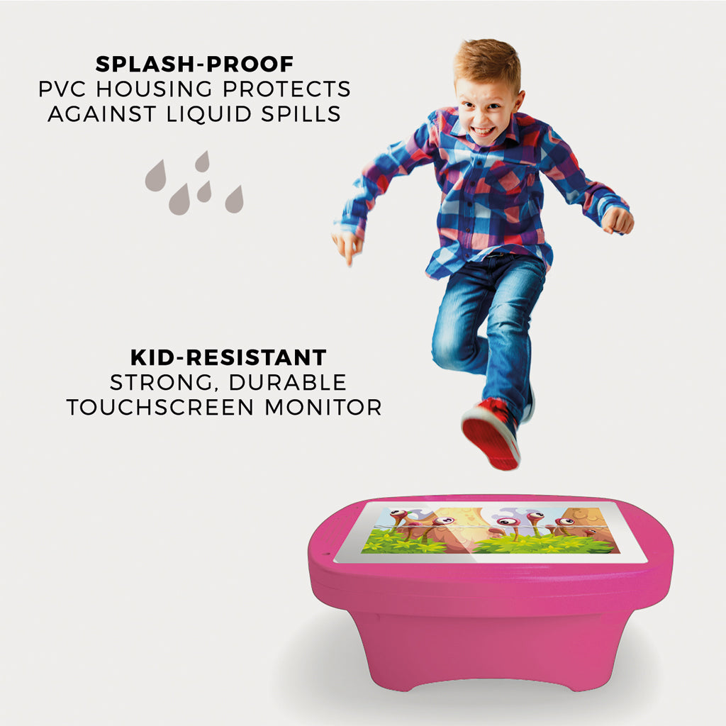 Makitso 4k Interactive Children's Touch Screen Monitor Table Pink Durability