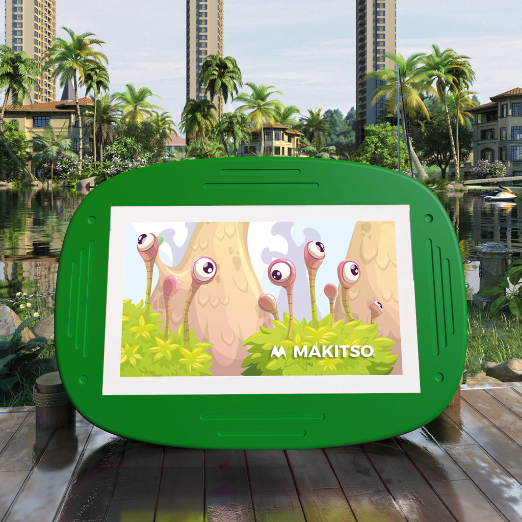 Makitso 4k Interactive Children's Touch Screen Monitor Table Green Outdoor
