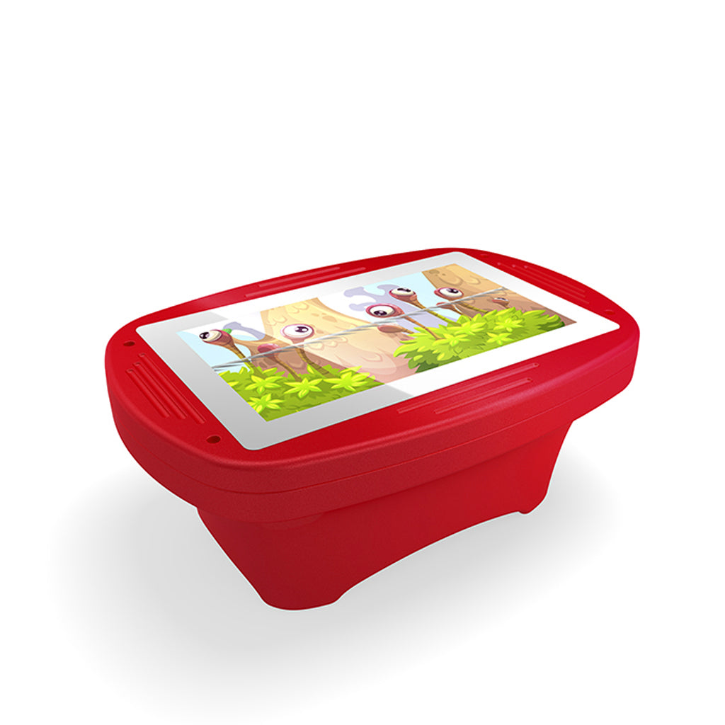 Makitso 4k Interactive Children's Touch Screen Monitor Table Red Side Angle