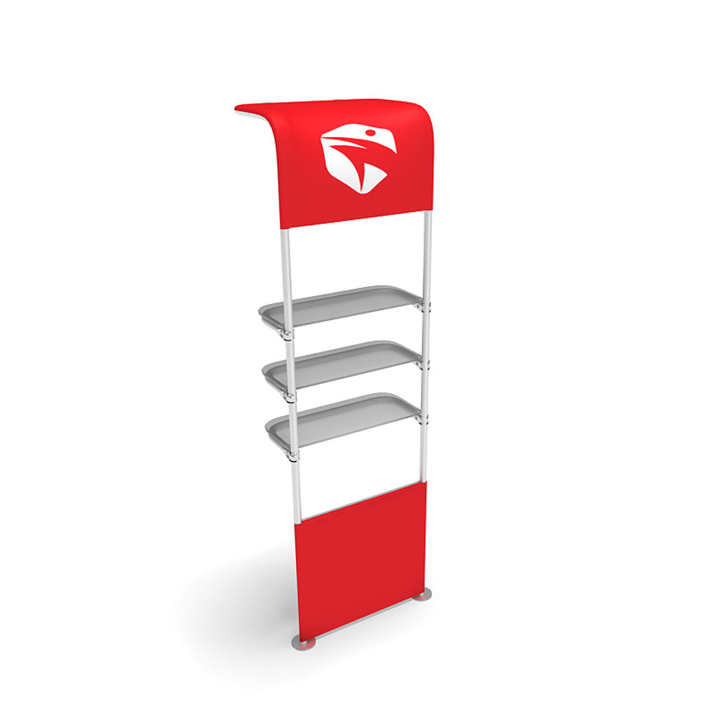 WaveLine® Waterfall Display Shelving for Trade Show Exhibits inside shelf and half graphic