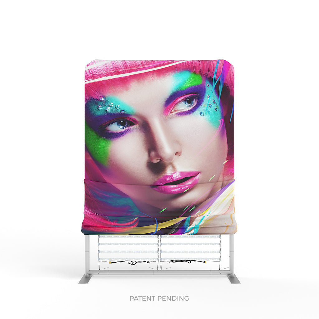WaveLight® LED Backlit Tension Fabric Display 8ft Graphic Installation