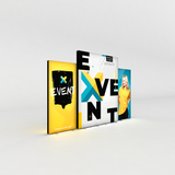 WaveLight Infinity Event Marketing Light Box Displays as a backdrop with multiple size signs.