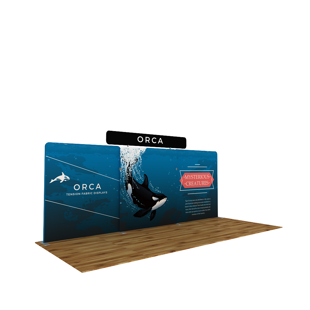 BrandStand WaveLine® Media Orca 20ft Tension Fabric Display with header in Trade Show Booth angled