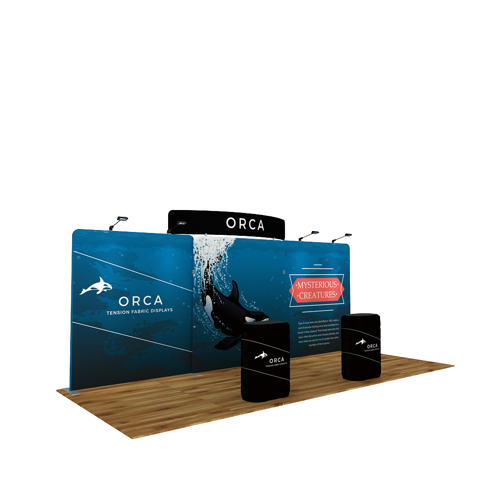 BrandStand WaveLine® Media Orca 20ft Tension Fabric Display with CA900 in Trade Show Booth