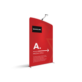 WaveLine® Media Display Wall A Left. Modular Tension Fabric Display Wall. Event marketing trade show display wall.  Angle View WaveLine® Media Display Wall Modular.