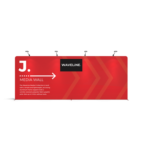 WaveLine® Media Display J Wall Modular Tension Fabric Display Wall. Event marketing trade show display wall. Front View WaveLine® Media Display Wall Modular. WLM-2000NJ