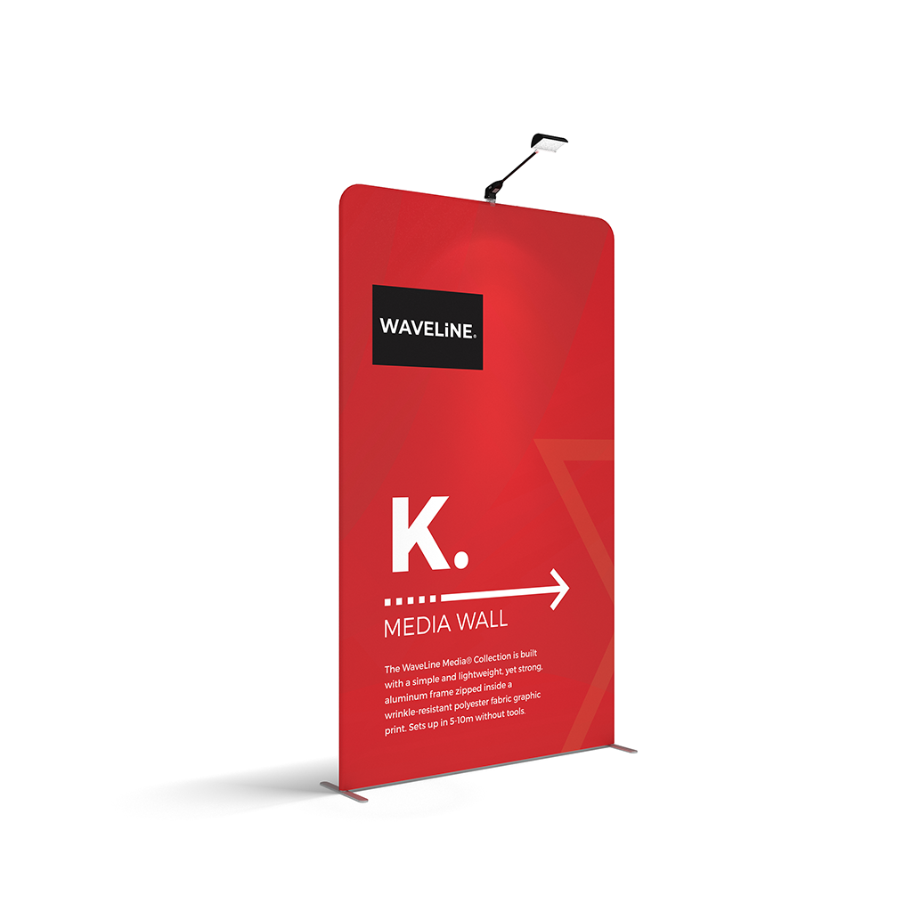 WaveLine® Media Display Wall K Modular Tension Fabric Display Wall. Event marketing trade show display wall. Angle View WaveLine® Media Display Wall K Modular. WLM-2000K