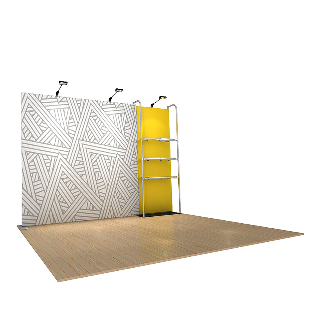 WaveLine® Merchandiser Retail Pop Up Store Display with Shelving side view